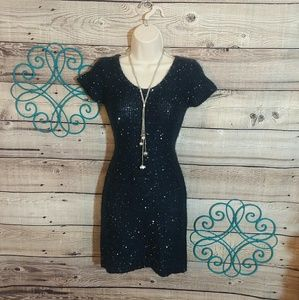 say what? sparkle sweater dress